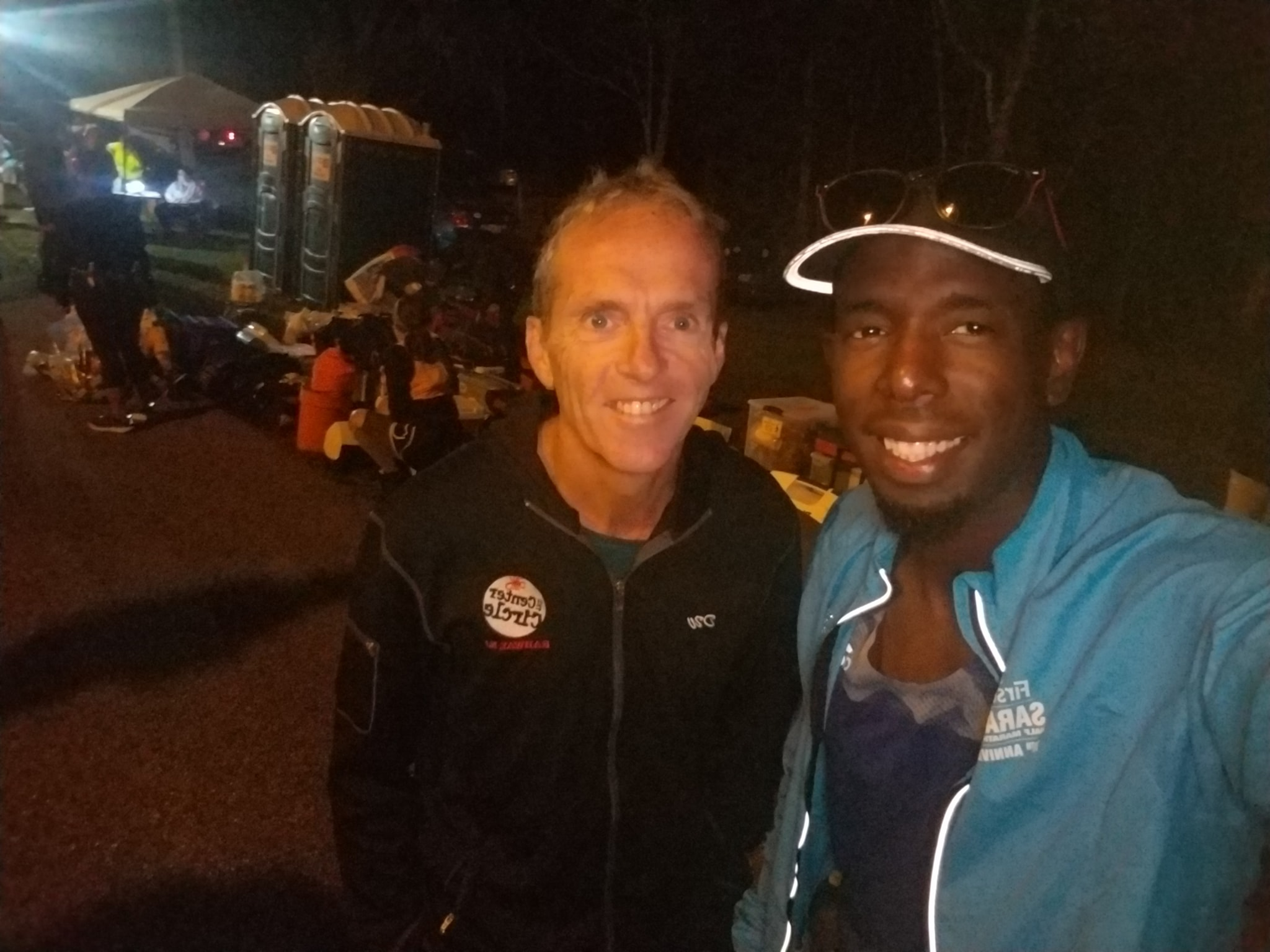 """Me and Lucien """"Hot Chocolate"""" from Miami catching up before the race"""