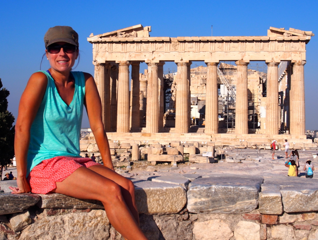 Happily hiking all over The Acropolis and beyond in Athens!